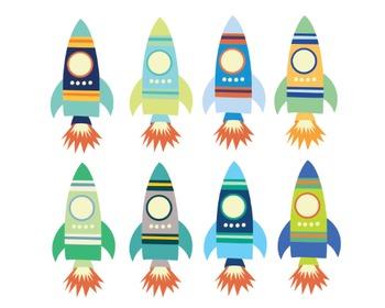 Space Rocket Clipart, Spaceship, Science, Space Rocket Set #225
