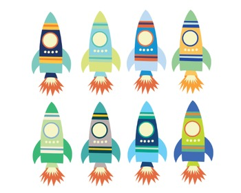 Space Rocket Clipart, Spaceship, Science, Space Rocket Set #225