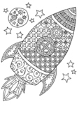 Space Rocket Coloring Page
