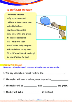 Space - Rockets (I): A Balloon Rocket - Grade 1 ('Triple-Track Writing Lines')