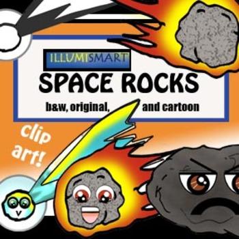 Creative Space Rocks Clip-Art (Meteor, Asteroid, Comet)