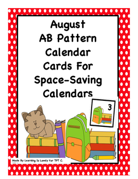 Aug. Calendar Cards With AB Pattern: Fit Small and Regular Calendars