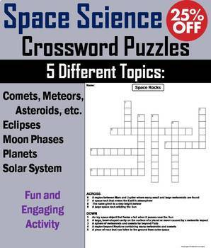 Space Science Crossword Puzzles Bundle: Eclipses, Solar System and Planets etc.