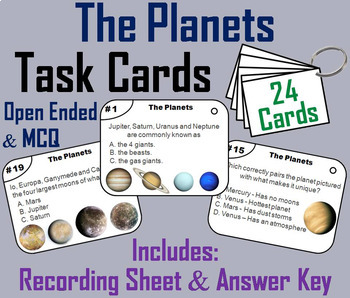 Astronomy Task Cards: Moon Phases, Solar System, Planets, Solar Eclipses etc.