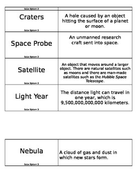 Space Science Voabulary