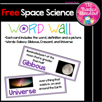 Space Science Vocabulary Word Wall