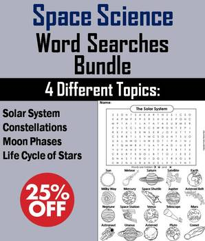 Astronomy Word Searches Bundle: Solar System, Constellations, Moon Phases, etc.