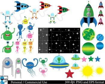 Space Set Clipart - Digital Clip Art Graphics 114 images cod78