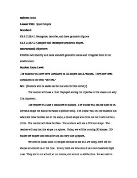 Space Shapes: First Grade Lesson Plan