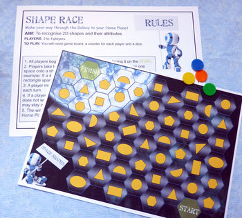 Space Shapes Game to reinforce 2D shapes and their attributes