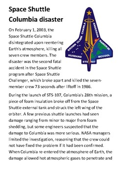 Space Shuttle Columbia disaster Handout