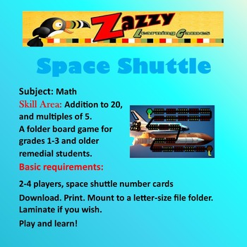 Space Shuttle Folder Game Math Addition, Multiples of 5