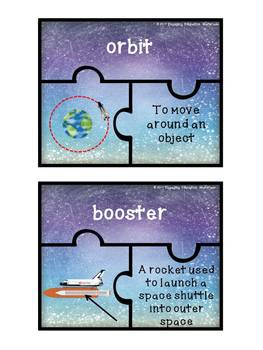 Space Shuttle Themed Vocabulary Matching Puzzles