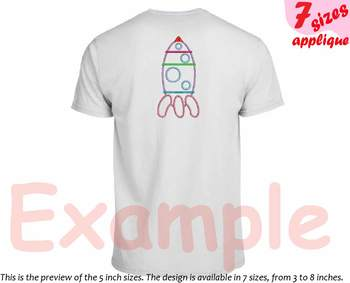 Space Shuttle Toy Applique Designs for Embroidery outline space Rocket toys 18a