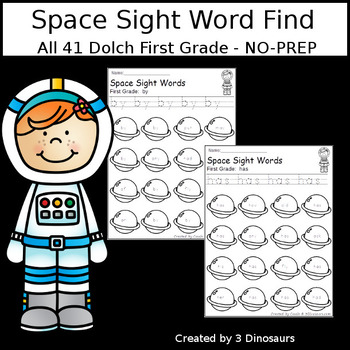Space Sight Word Find: First Grade