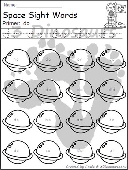 Space Sight Word Find: Primer