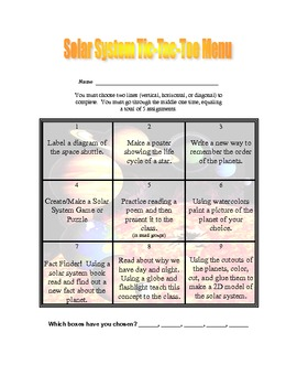 Space: Solar System Tic Tac Toe Menu of Activities