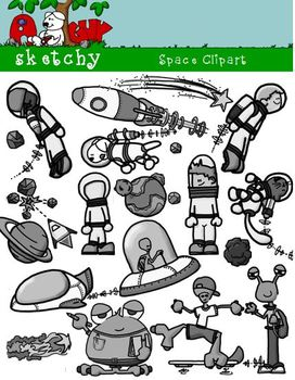 Space, Spaceship, Astronaut, Alien Clipart / Graphics - 300dpi Color Gray BW