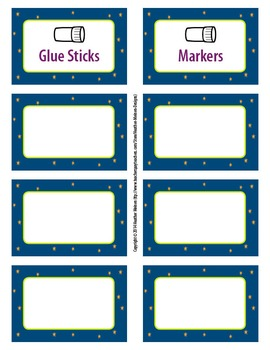 Space + Star Classroom Labels
