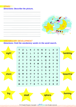 Space - Stars (II) - Grade 1 (with 'Triple-Track Writing Lines')
