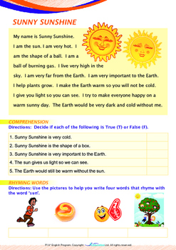 Space - Sunny Sunshine - Grade 1 (with 'Triple-Track Writing Lines')