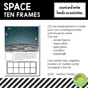 Space Ten Frames Count and Write Activities