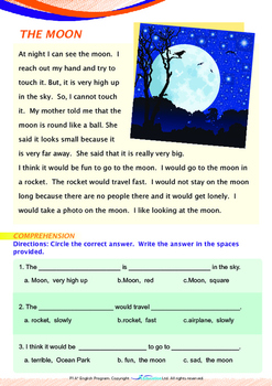Space - The Moon (II) - Grade 1 (with 'Triple-Track Writing Lines')