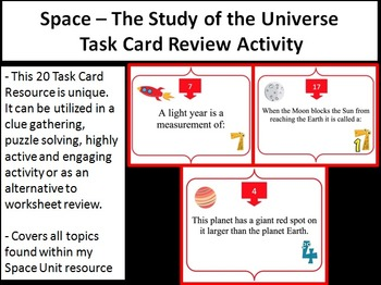 Space - The Study of the Universe Task Card REVIEW GAME - Unique and Engaging