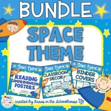 Space Theme Bundle Decor, Reading Posters, & Binder Covers