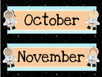 Space Theme Calendar Headers