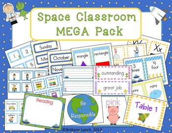 Space Theme Classroom Decor (editable)