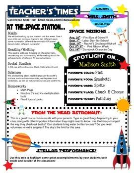 Space Theme Classroom Newletter