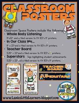 Space Theme Classroom Posters
