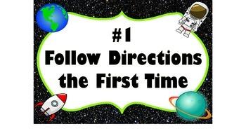 Space Theme Classroom Rules - Editable