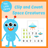 Space Theme Clip and Count Cards