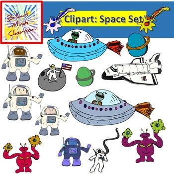 Space Clipart Graphics: Robots Shuttle, Alien, Comet, Planets