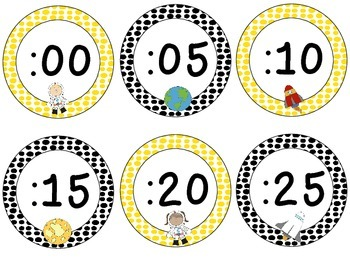 Space Theme Clock Tags & Labels