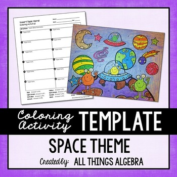 Coloring Activity Template: Space Theme (Personal Use Only)