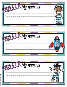 Space Theme - Editable Name Tags - Classroom Decor