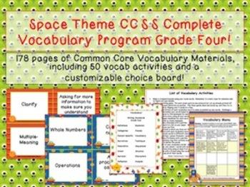 Space Theme Grade Four CCSS Complete Vocabulary Program