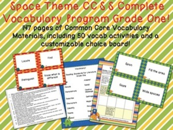 Space Theme Grade One CCSS Complete Vocabulary Program