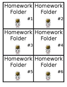 Space Theme Homework Folder