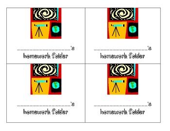 Space Theme Homework Folder labels
