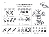 Space Theme - Leveled Subtraction Worksheets