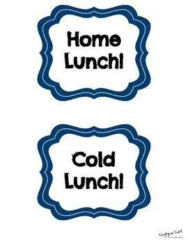 Space Theme Lunch Choice Signs