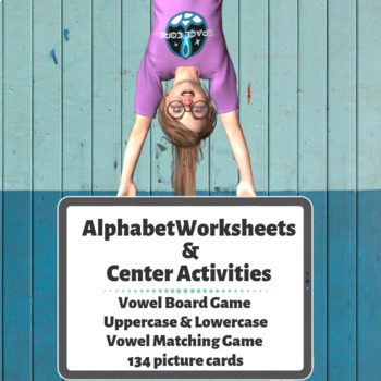 Space Theme Missing Alphabet Worksheets & Vowel Board Games