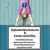 Space Theme Missing Alphabet Worksheets & Vowel Board Games
