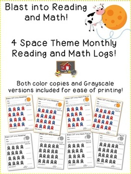 Space Theme Monthly Reading and Math Logs