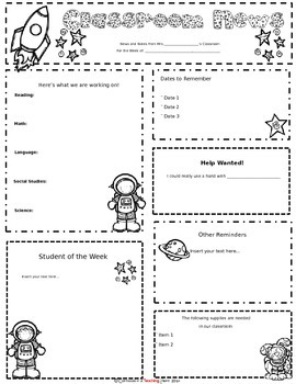 Space Theme Newsletter Template for Busy Teachers