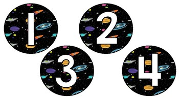 Space Theme Number Labels 1-30
